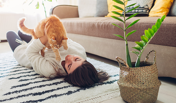 woman with asthma plays with orange cat on carpeted floor