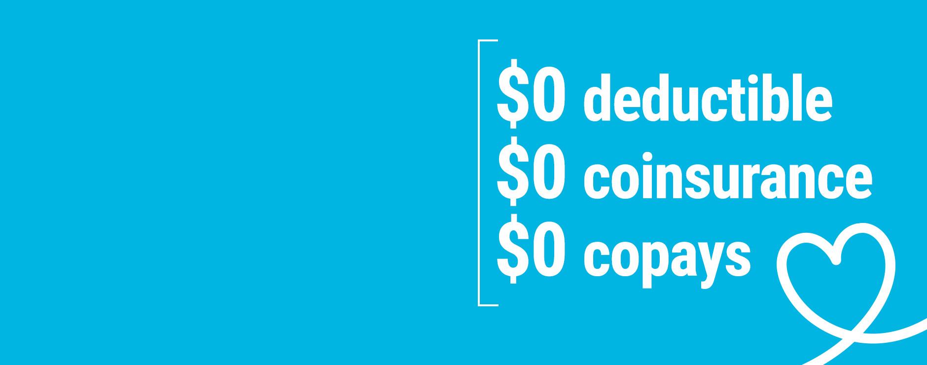 Medicare Advantage plan offers$0 deductible $0 coinsurance $0 copays